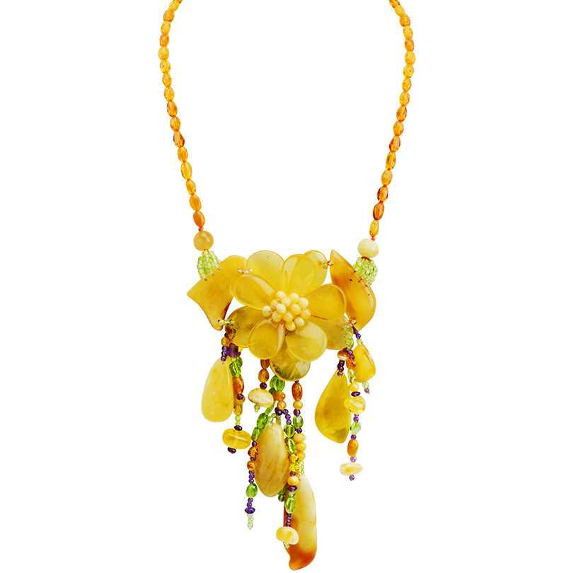 Polish Designer Baltic Butterscotch Amber Flower Necklace