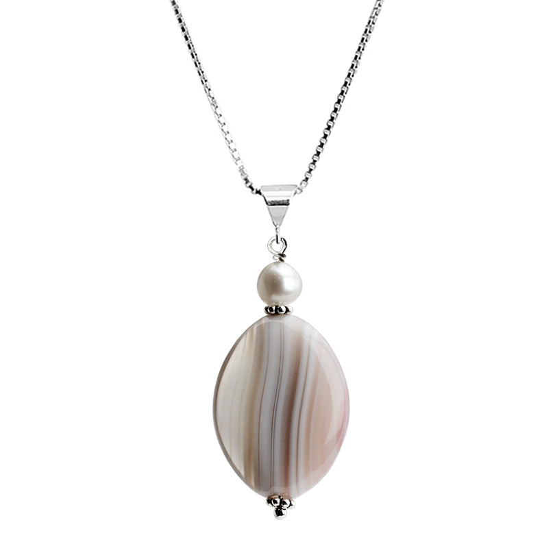 "Neutral Tones of Striped Agate and Fresh Water Pearl Sterling Silver Necklace 16"" - 18"""