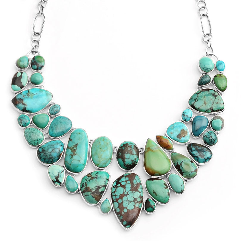 Magnificent & Dramatic Genuine Turquoise Cobblestone Sterling Silver Statement Necklace-only one forever!