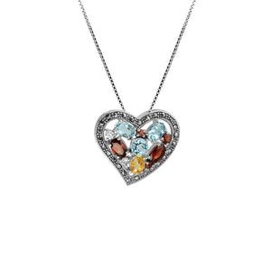 Gorgeous Gemstones and Sparkling Marcasite Sterling Silver Heart Necklace