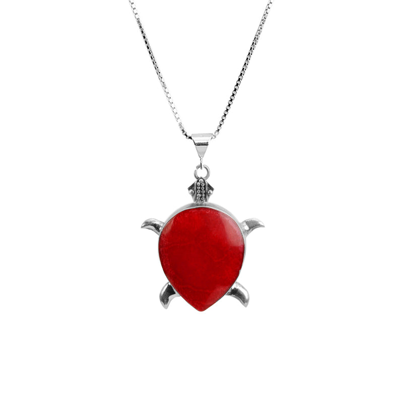 Darling Coral Sterling Silver Turtle Necklace