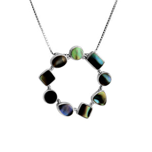 Shimmering Black Shell Sterling Silver Necklace