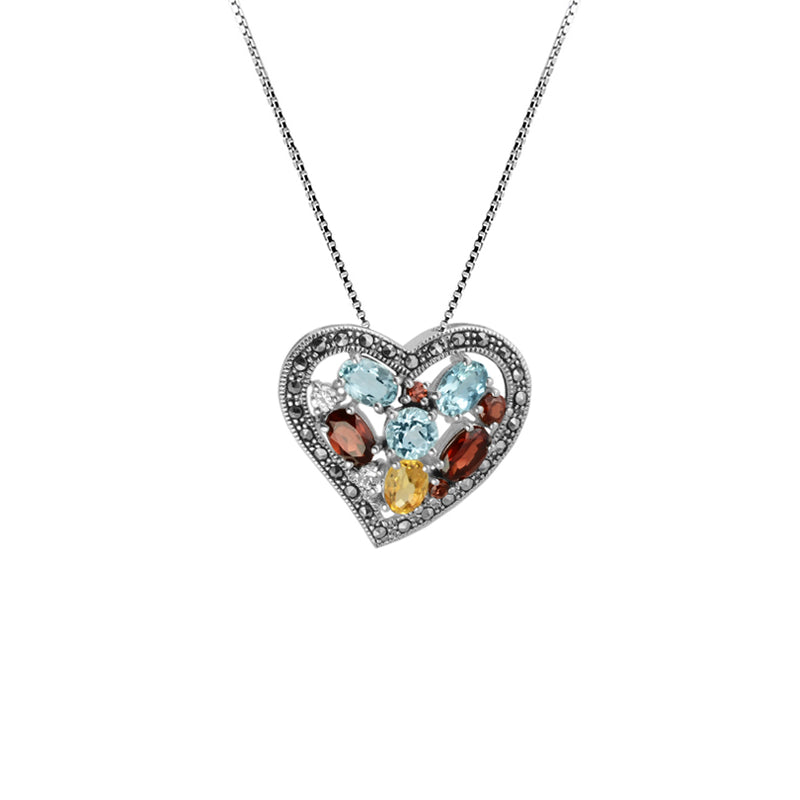 So Pretty, Mixed Gemstones and Marcasite Sterling Silver Heart Necklace