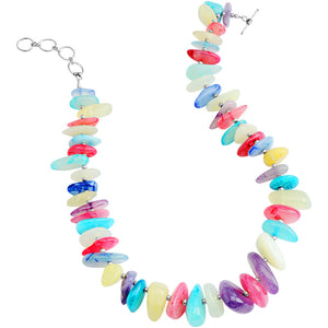 "Colorful Agate Stones Sterling Silver Necklace 16"" - 18"""