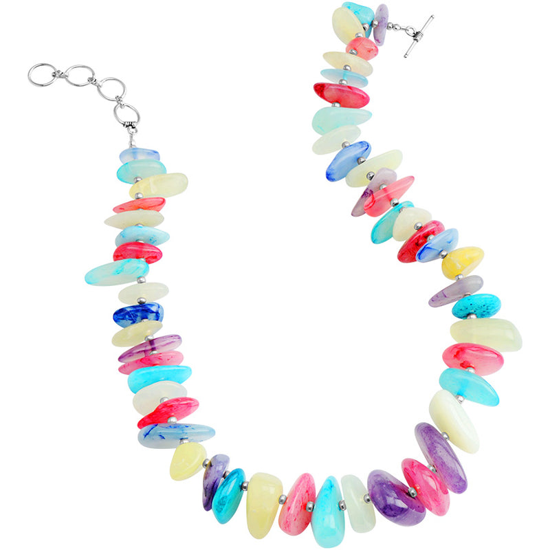 Colorful Agate Stones Sterling Silver Necklace 16