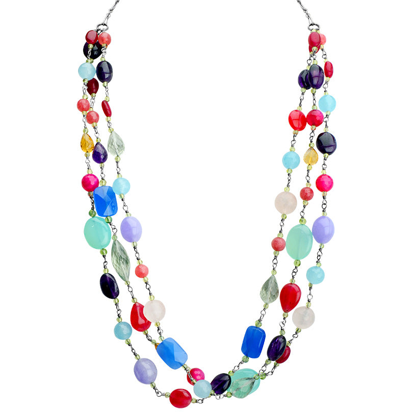 "Beautiful Colorful Stones Sterling Silver Necklace 18"" - 22"""