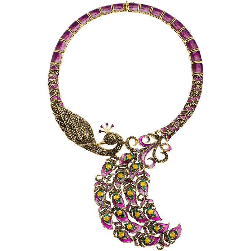 "Gorgeous Blended Purples & Rose Red with Gold Plated Marcasites Majestic Peacock Necklace 17""-only one"