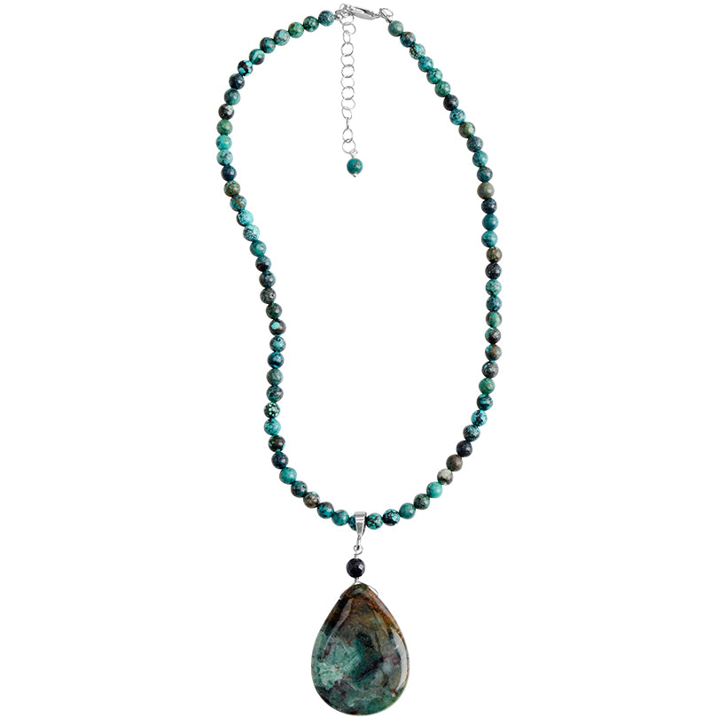 Stunning Turquoise Stone on Turquoise Sterling Silver Beaded Neckline