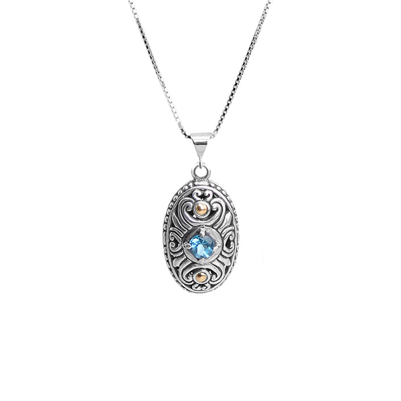 Petite Balinese Design Blue Topaz with 18kt Gold Sterling Silver Necklace 18""