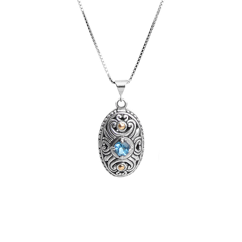 Petite Balinese Design Blue Topaz with 18kt Gold Sterling Silver Necklace 18