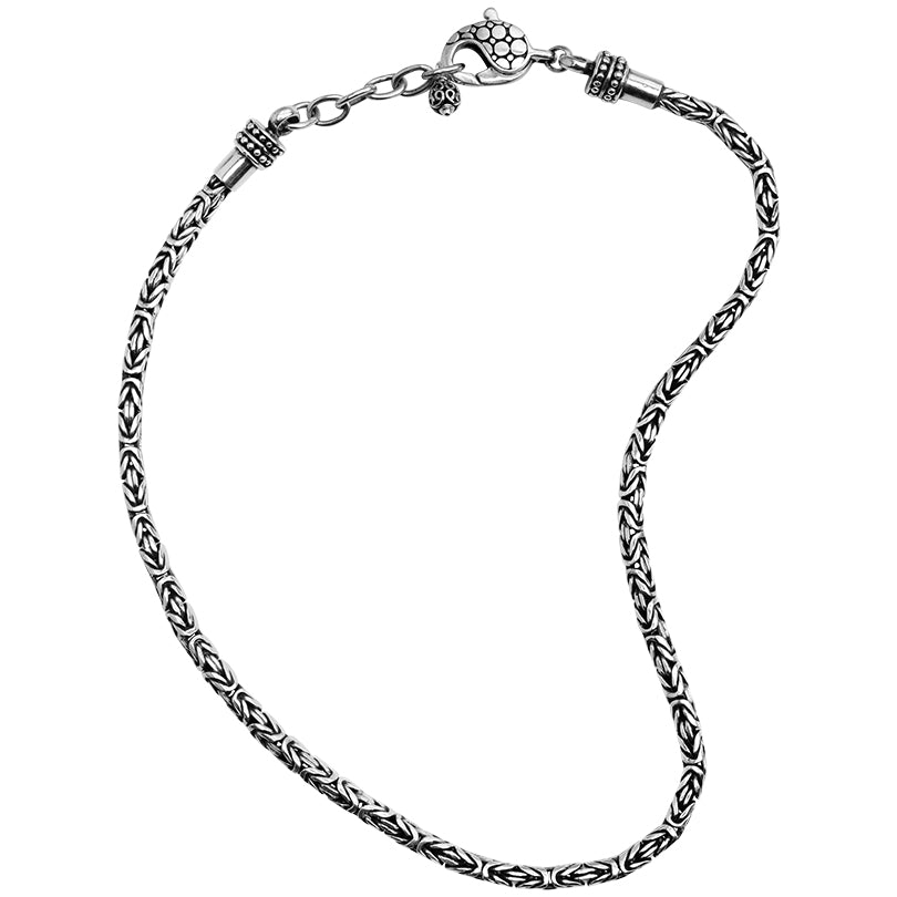 Sterling Silver 4mm Borobadur Chain with Lobster Clasp and Extension