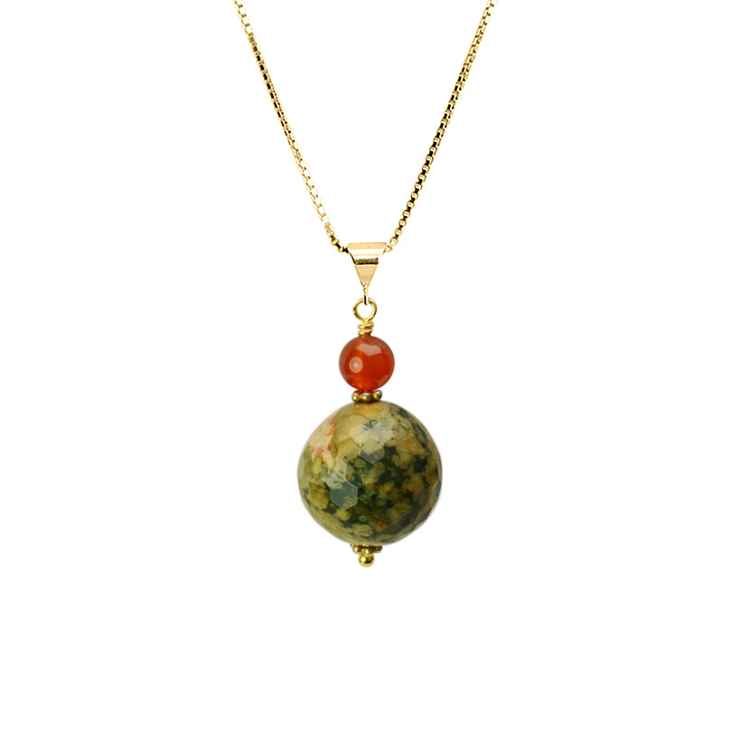 Faceted Natural Jasper and Carnelian Vermeil Necklace
