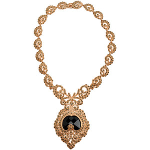 14kt Rose Gold Plated Victorian Majesty Black Crystal Marcasite Necklace