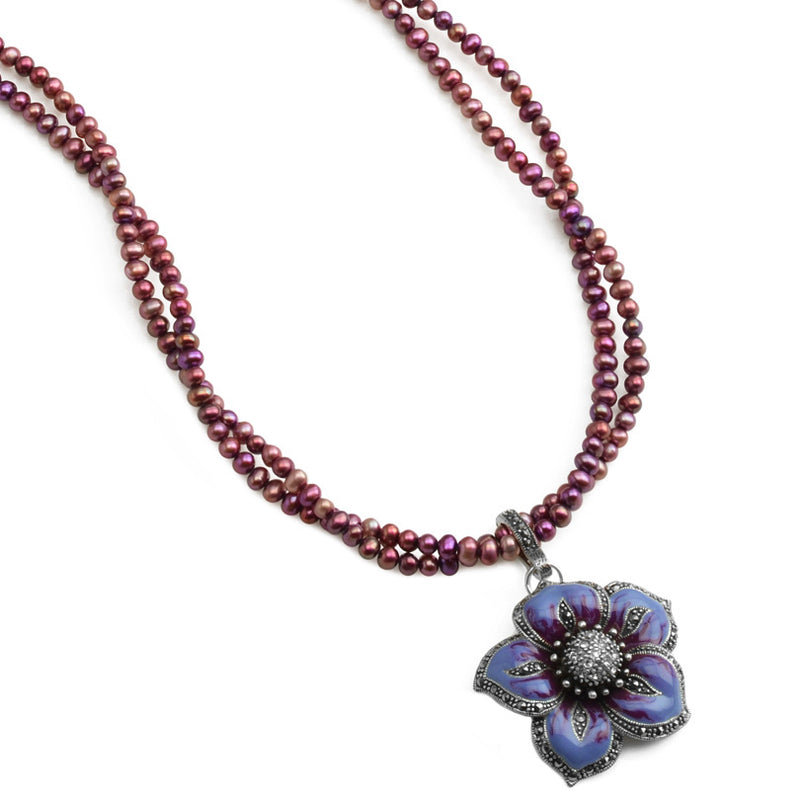 "Sparkllng Lavender Flower With Marcasite Accent on Ruby Red Pearl Neckline 16"" - 18"""