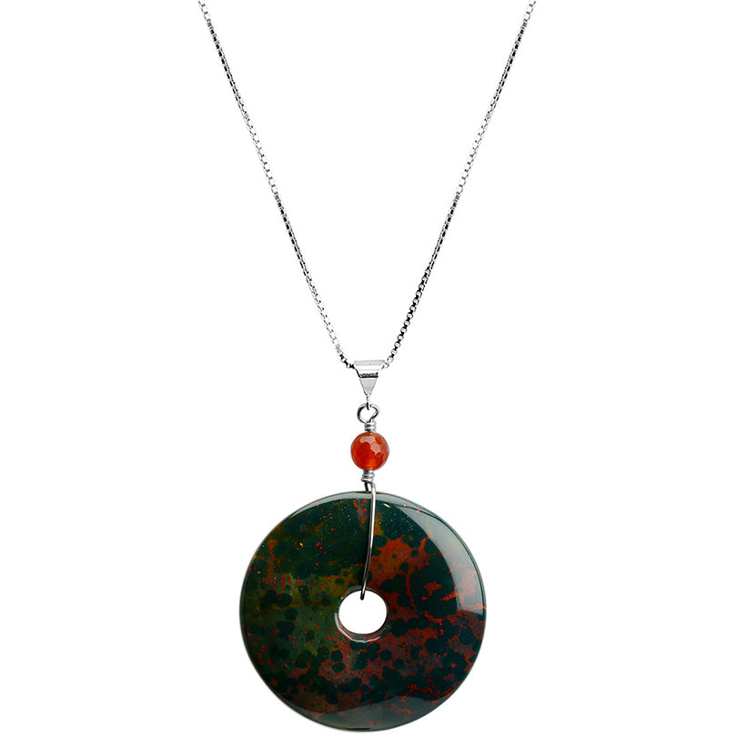 "Striking Green and Orange Bloodstone With Carnelian Sterling Silver Necklace 16"" - 18"""