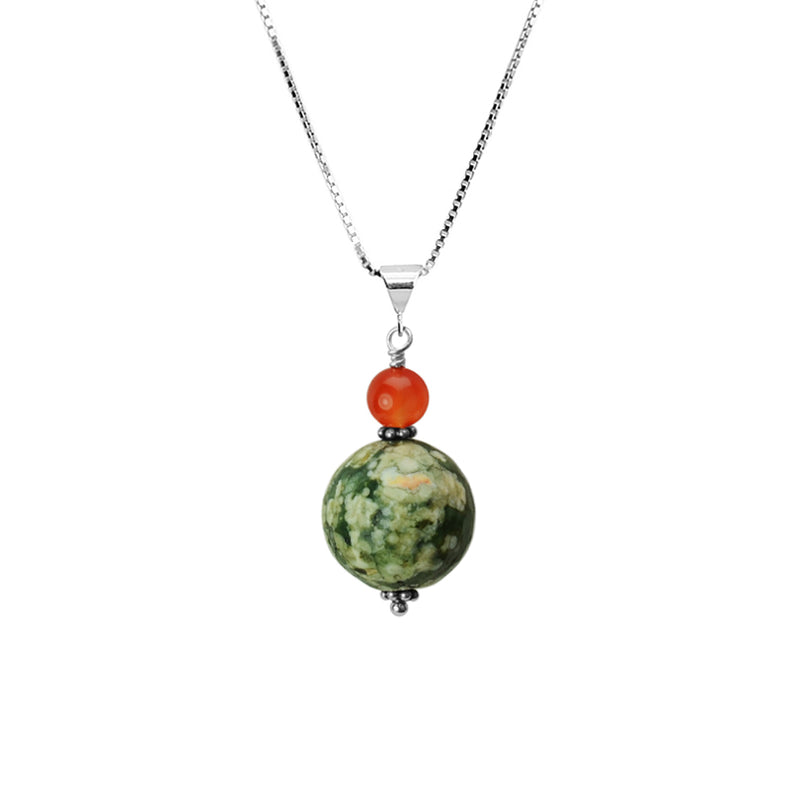 Faceted Jasper and Carnelian Sterling Silver Necklace