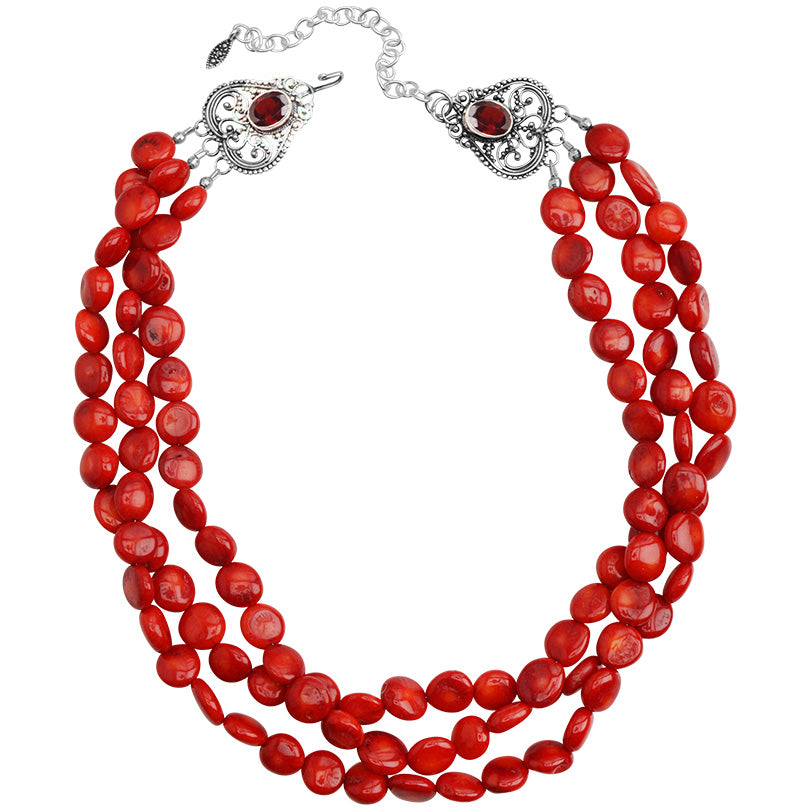 "Lovely Bright Coral and Garnet Sterling Silver Necklace 16"" - 18"""