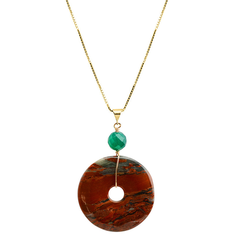 Gorgeous Bright Orange Jasper and Green Agate Vermeil Necklace