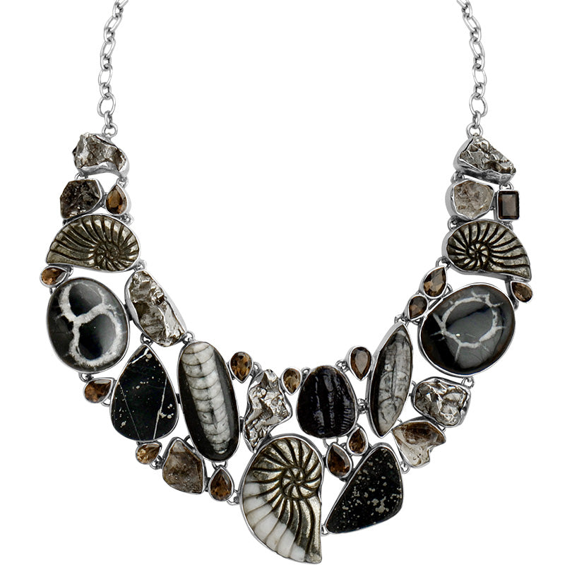 Fossil Necklace! Carved Shiny Pyrite, Meteorite, Herkimer and Trilobite Sterling Silver Statement Necklace