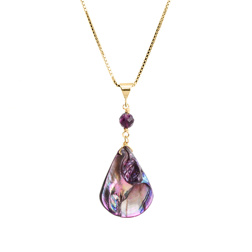 "Shimmering Purple Shell and Amethyst on Italian 18kt Vermeil Necklace 16""- 18"""