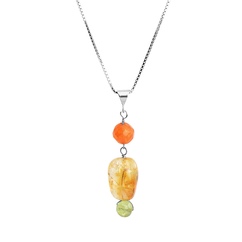 Petite Carnelian, Citrine and Peridot Sterling Silver Necklace