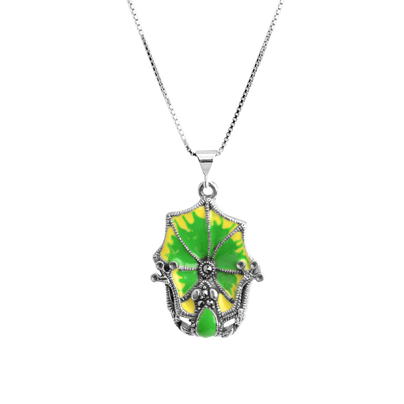 Frog on Marcasite Lily Pad Sterling Silver Necklace
