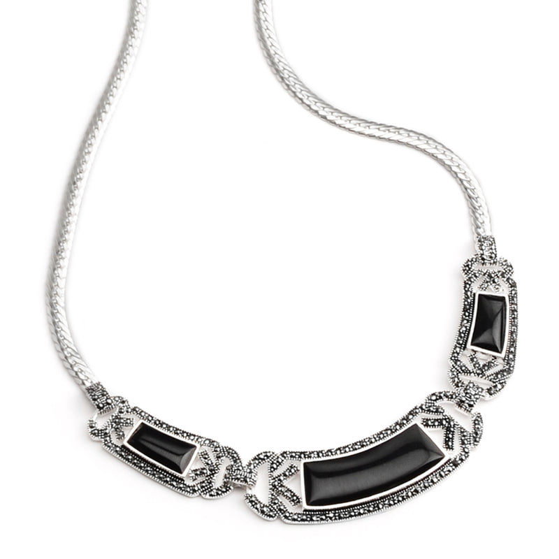 Elegant La Reina Black Onyx and Marcasite Sterling Silver Statement Necklace