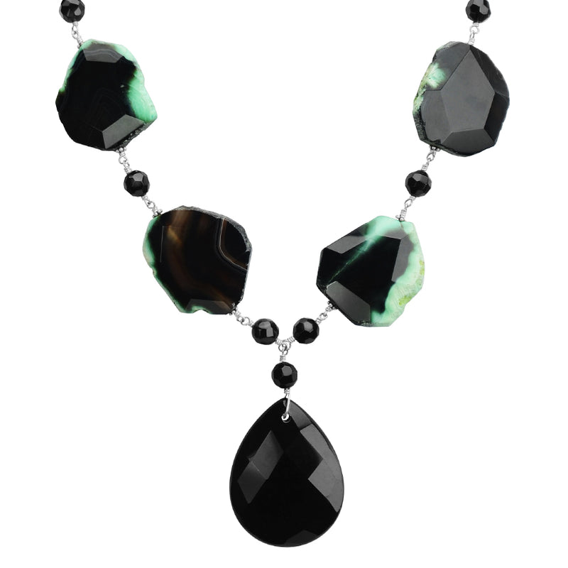 Forest Green Agate and Black Onyx Sterling Silver Necklace