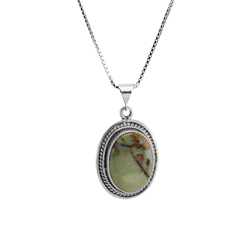 "Petite Olive Green Jasper Sterling Silver Necklace 16"" - 18"""