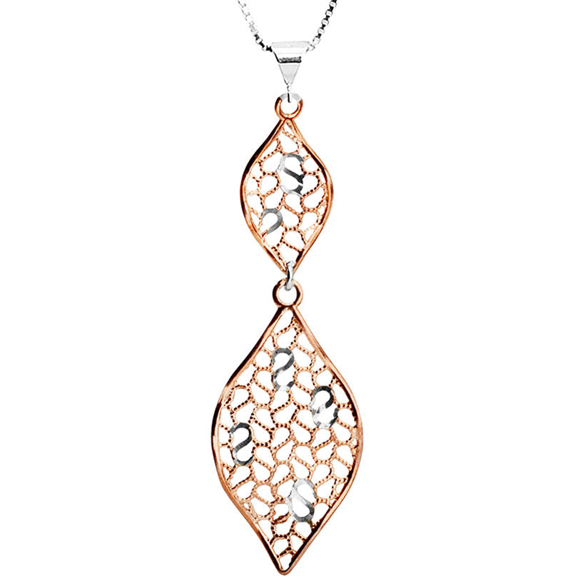 French Italian Style Sparkling Rose Gold Plated Sterling Silver Necklace