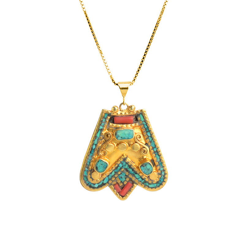 So Pretty! Himalayan Coral and Turquoise Nepal Miniature Statement Necklace