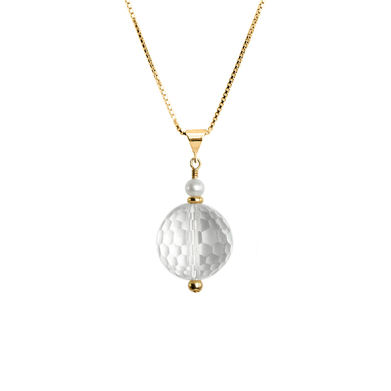 Gorgeous Diamond Cut Faceted Crystal Quartz & Pearl 18kt Vermeil Necklace