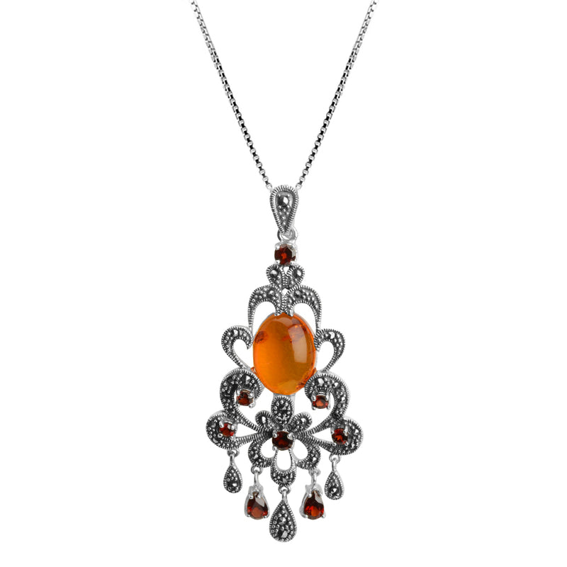 Gorgeous Victorian Design Garnet and Baltic Amber Marcasite Sterling Silver Statement Necklace