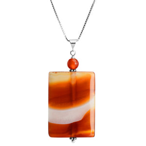 "Natures Artistic Bands of Carnelian Sterling Silver Necklace 16"" - 18"""
