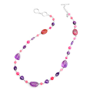 Colorful Jewel-Tones of Small Stones of Amethyst, and Pink Agate and Jasper Sterling Silver Necklace