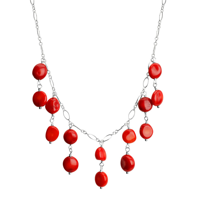 Delicate Drops of Coral Sterling Silver Necklace 16