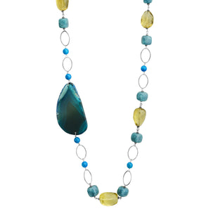 Beautiful Lemon Quartz, Aquamarine and Agate Slice Sterling Silver Necklace 36""