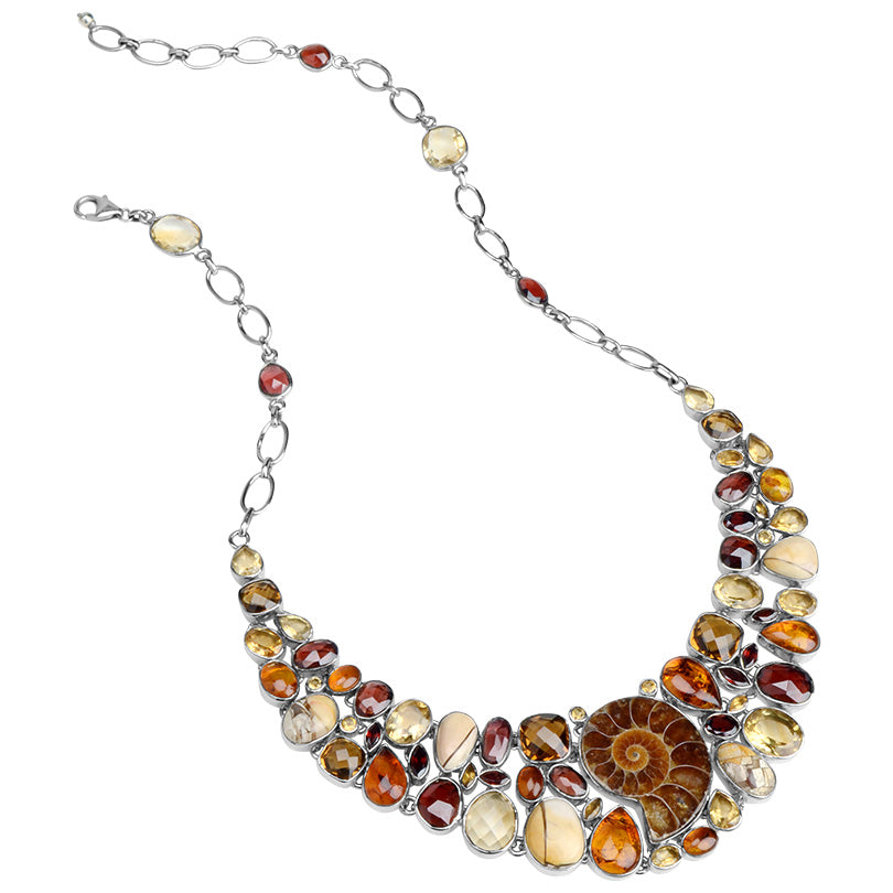 Stunning Mixed Golden Gemstones Sterling Silver Statement Necklace