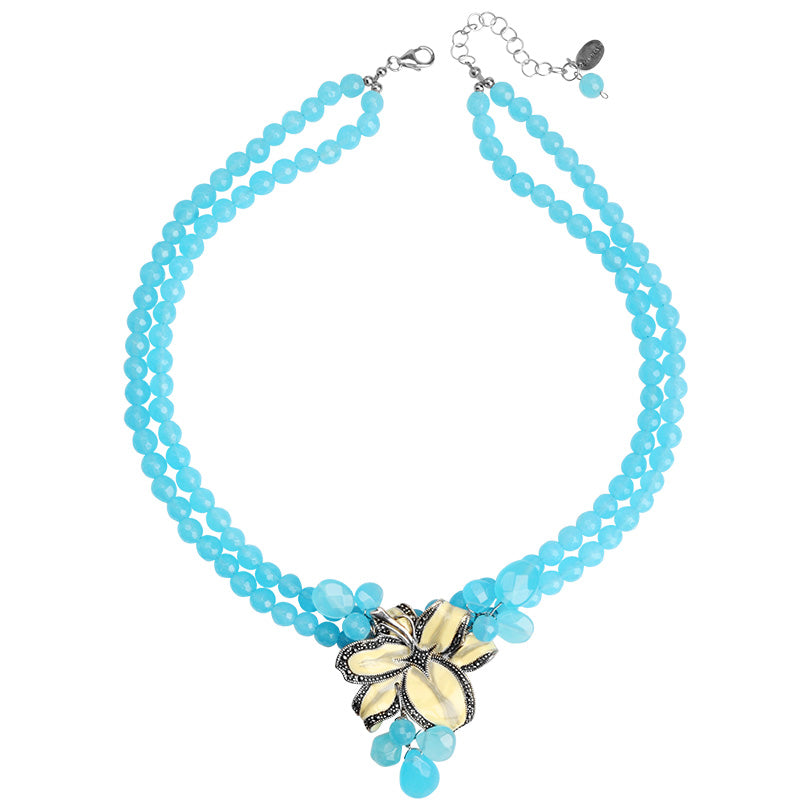 Gorgeous Chalcedony Blue Jade with Silver Lily Flower Necklace