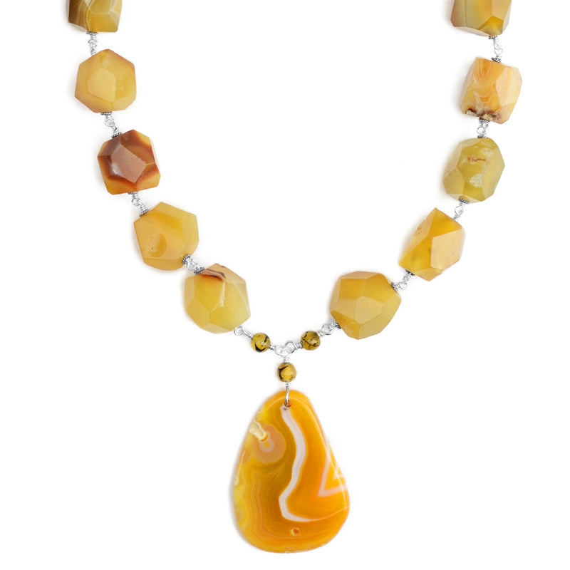 Sunny Yellow Agate Sterling Silver Statement Necklace 19