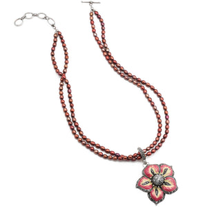 "Simply Beautiful Marcasite Trimmed Flower on Ruby Pearls Neckline Sterling Silver Necklace 16"" - 18"""