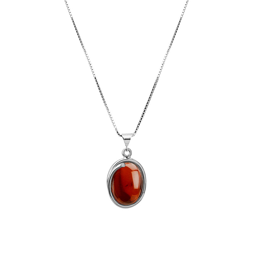 Deep Rich Cognac Baltic Amber Sterling Silver Necklace