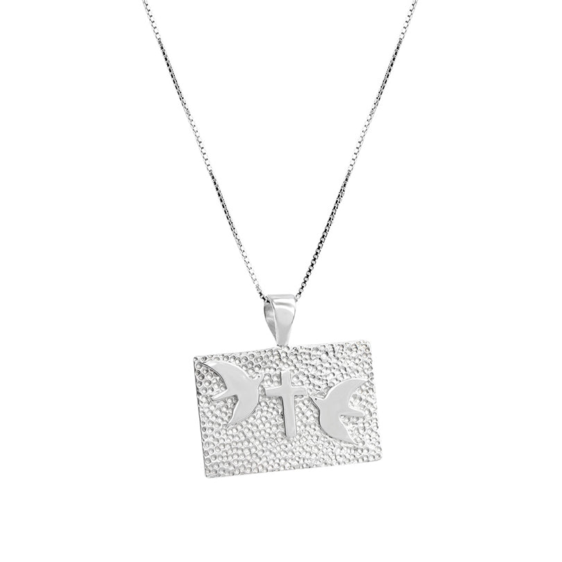 Doves and Cross Sterling Silver Pendant