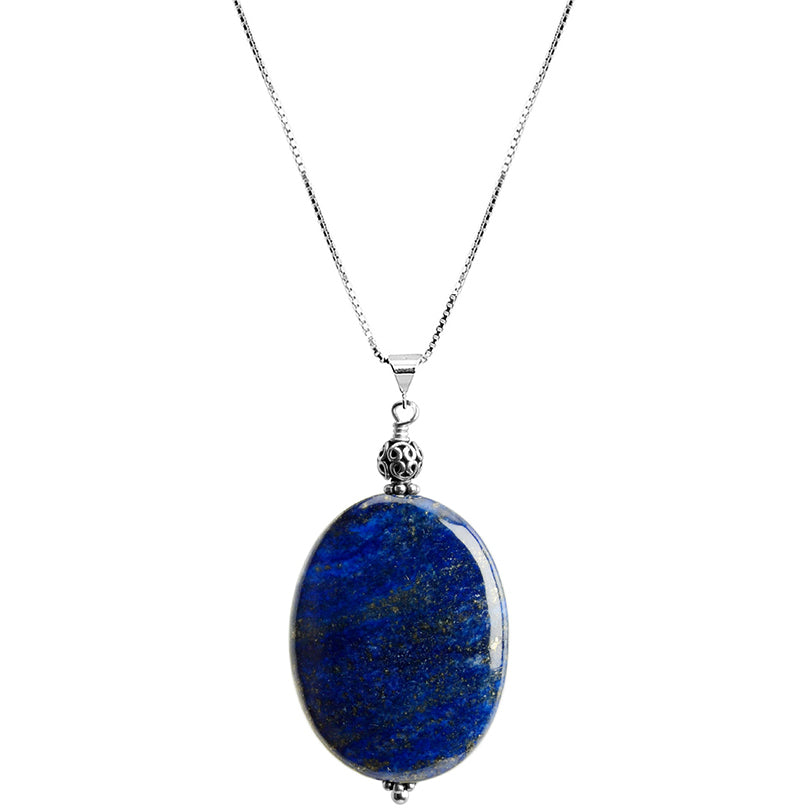 "Large Beautiful Lapis Stone with Balinese Silver Accent Sterling Silver Necklace 16"" - 18"""