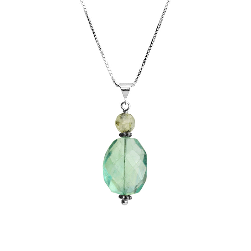 Sea Green Faceted Fluorite and Prehnite Sterling Silver Necklace