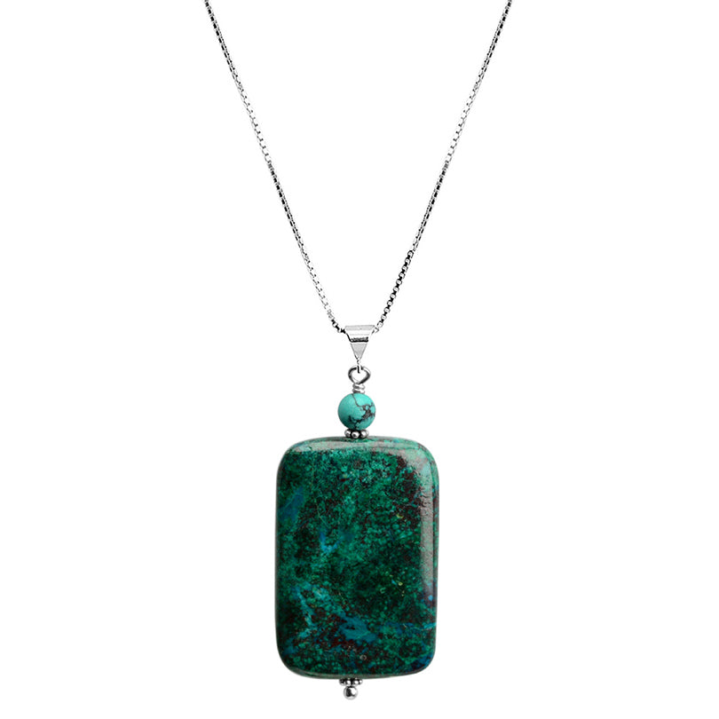 "Unique Bloodstone with Turquoise Accent Sterling Silver Necklace 16"" - 18"""
