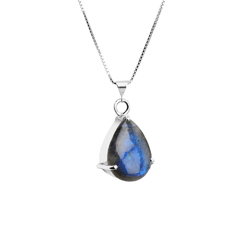 Shimmering Blue Labradorite Teardrop Sterling Silver Necklace 16-18