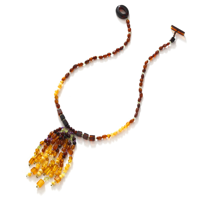Swinging Baltic Amber Tassel Statement Necklace