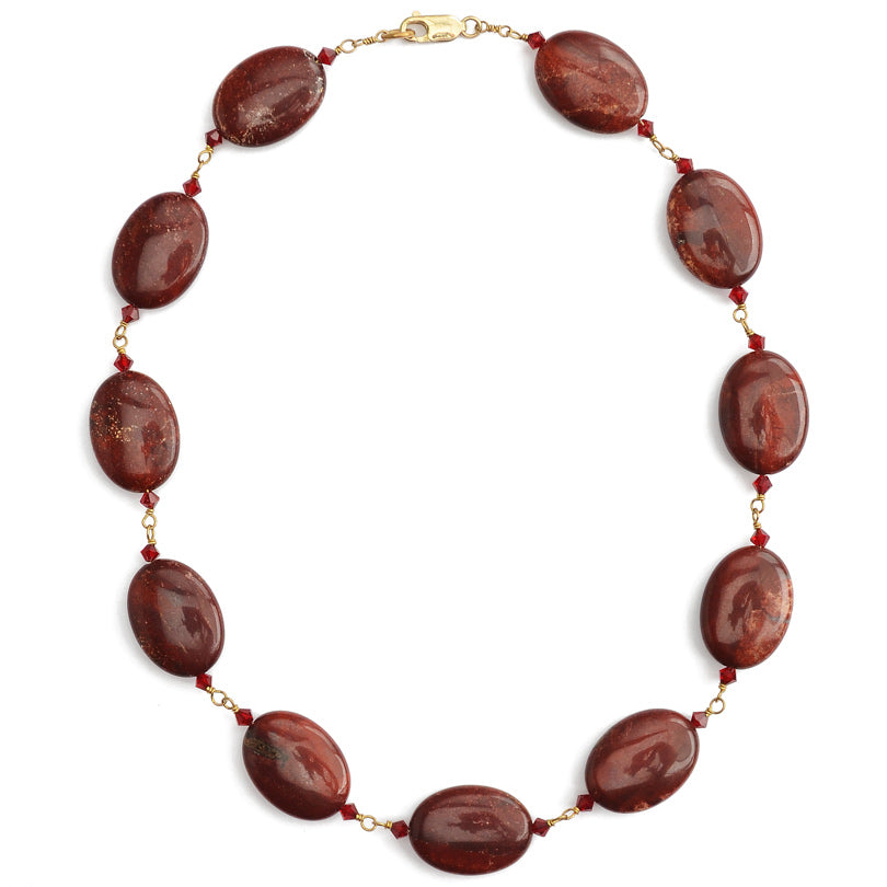 "Red Wine Jasper with Crystal Accent Gold Filled Necklace 18""-20"""