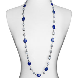 Stylish Lapis & Pearl with Hematite and Crystal Accents Necklace -44""
